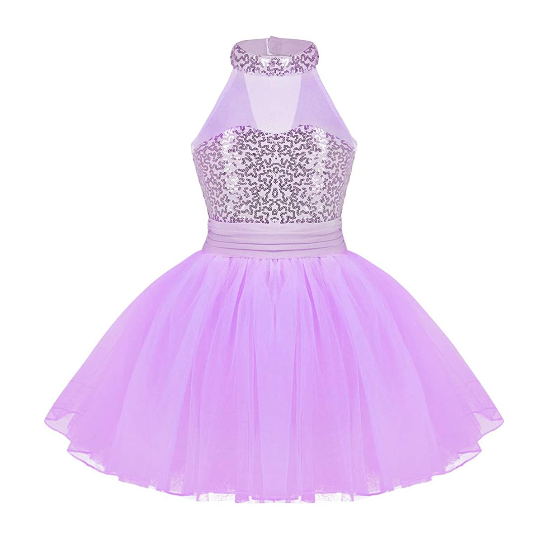 iEFiEL Kids Girls' Sequined Camisole Ballet Tutu Dress Ballerina Leotard Outfit Dance Wear Costumes