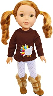 Brittany's Happy Thanksgiving Day Outfit Compatible with Wellie Wisher Dolls and Glitter Girl Dolls- 14 Inch Doll Clothes