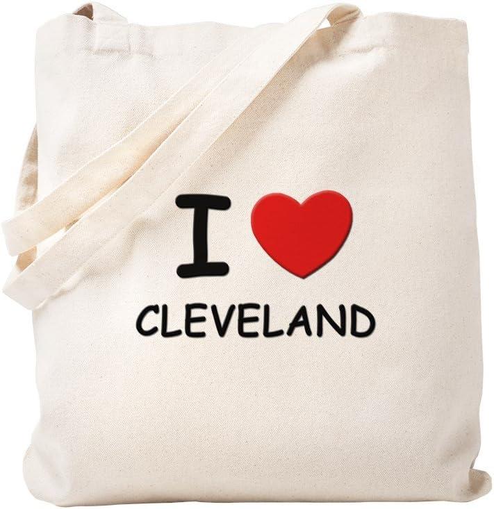 CafePress I Love Cleveland Tote Bag Natural Canvas Tote Bag, Reusable Shopping Bag