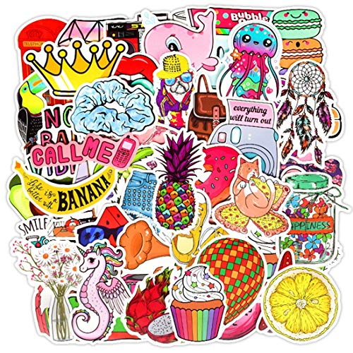 Cute Vsco Stickers 50 Pack Waterproof Stickers Vinyl for Water Bottle Laptop,Aesthetic Stickers for Girls Teens Adults Cute Vsco Girls Stickers and Decals (vsco Cute Style 50pcs)