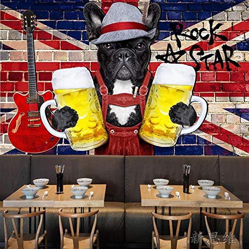 MGQSS Tapete Wandgemälde Wandkunst Dreidimensionale Graffiti der Zoohandlung 3D Selbstklebend PVC Wandgemälde Essen und Trinken Café Geschäft Restaurant Bekleidungsgeschäft Jahrgang (B)400x(H)280 cm