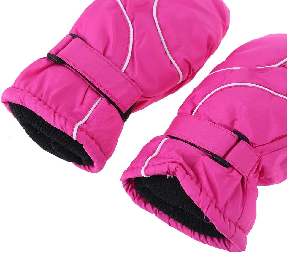 6Wcveuebuc 5-9Ages Toddler Kids Winter Snow Ski Gloves Waterproof Windproof Solid Color Patchwork Thicken Warm Adjustable Stretchy Mittens