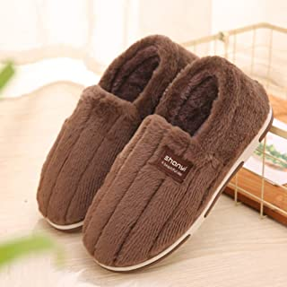 NOMSOCR Women's Comfort Plush Slippers, Winter Thick Warm Anti-Slip Breathable House Slipper (Coffee, 11-12 M US)