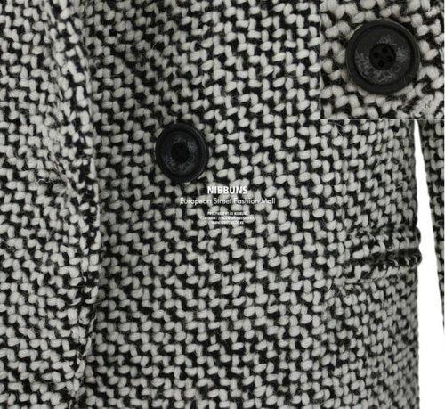 『セレブ風 レディース モノトーンツイードメンズライク コート ロング サイズM』の3枚目の画像