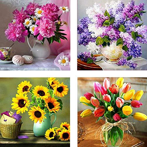 4 paquetes de kits de taladro completo DIY 5D Diamond Painting Art, flor de taladro completo floral para adultos, decoración de la pared del hogar para niños