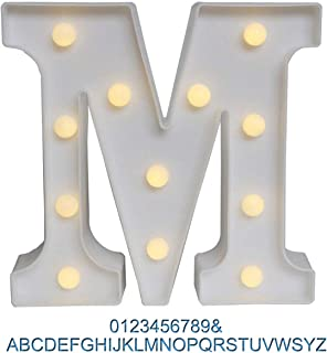 Ogrmar Decorative Led Light Up Number Letters, White Plastic Marquee Number Lights Sign Party Wedding Decor Battery Operated (M)