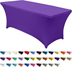 ABCCANOPY 30+ Colors Spandex Table Cover 6 ft. Fitted Polyester Tablecloth Stretch Spandex Tablecover-Table Toppers(Purple)