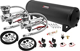Vixen Air Suspension Kit for Truck/Car Bag/Air Ride/Spring. On Board System- Dual 200psi Compressor, 4 Gallon Tank. for Boat Lift,Towing,Lowering,Load Leveling,Bags,Onboard Train Horn VXO4841DC