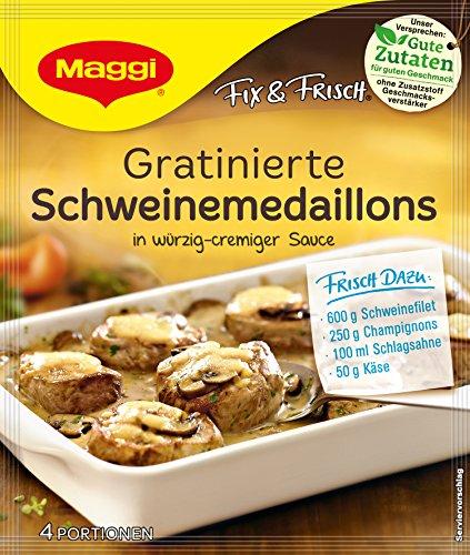 Maggi fix & frisch, Gratinierte Schweinemedaillons, 42 g Beutel, ergibt 4 Portionen