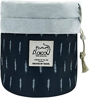 Makeup Bag for Women Portable Travel Drawstring Cinch Top Compact Cosmetic Organizer Girls Blue Feather