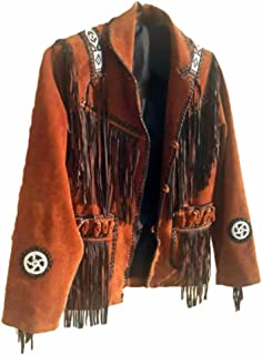 Classyak Men's Western Fringed and Beaded Brown Suede Leather Coat