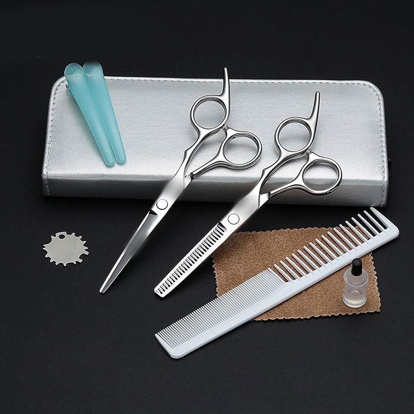 残り極貧冷ややかな理髪はさみセット、家族の大人の子供のフラット+歯シザーヘアツールセット モデリングツール (色 : Silver)