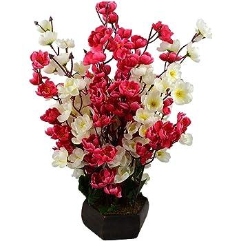 Sofix Bonsai Blossom Artificial Flowers with Pot Home Decorative Flower Pot (Red White)