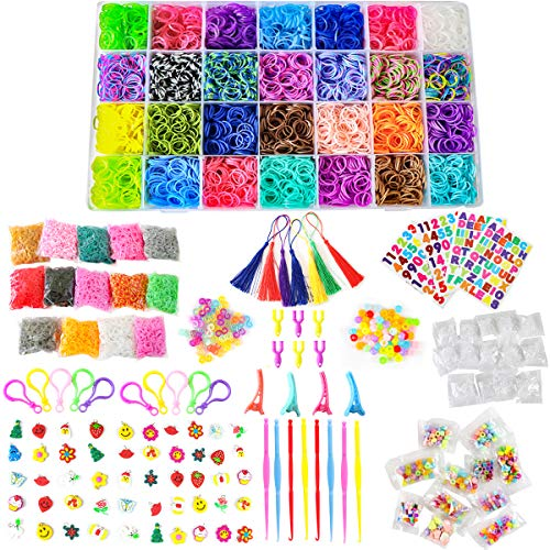 TOPNEW 22000+ Rainbow Rubber Bands Refill Kit for Kids Weaving DIY Craft Gift Set, Over 20000 Premium Quality Loom Bands in 42 Colors, 295 Colorful Beads, 900 S-Clips, Cartoon Charms, and ABC Stickers