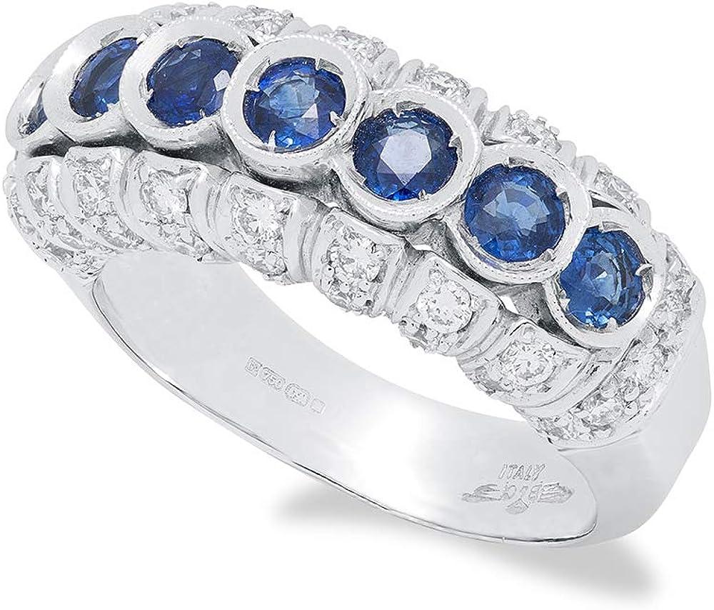 B.&c. gioielli anello donna completamente fatto a mano in oro bianco 18kt, diamanti e zafiri an06