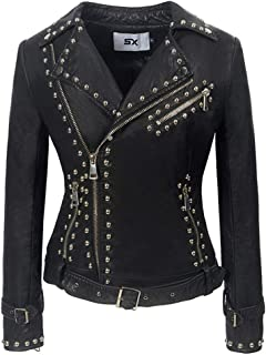 Women's Heavy Industry Studs PU Jacket Personalized Punk Handsome Leather Jacket,D,L