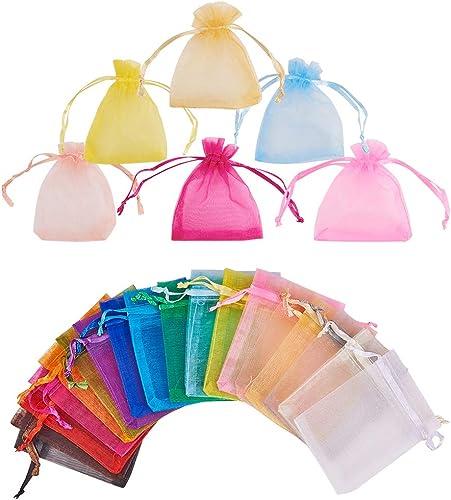 """PH PandaHall 100pcs Sheer Organza Bags, 2.7 X 3.5"""" Mixed Color Drawstring Organza Gift Bags for Party Wedding Christm..."""