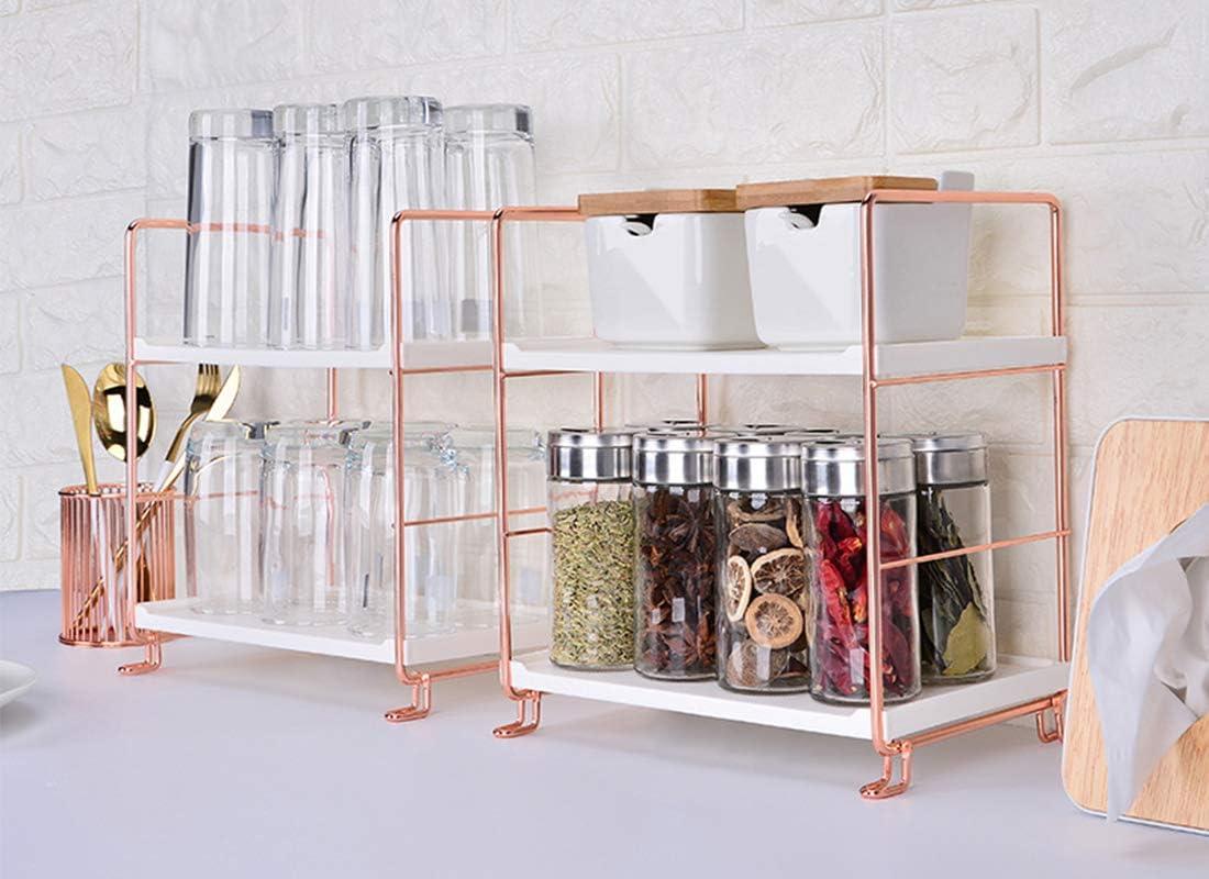 VEEMOS 9 Tier Bathroom Countertop Organizer, Vanity Tray Cosmetic Organizer  Standing Counter Shelf Skincare Organizer Kitchen Spice Rack Rose Gold