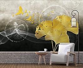 Behang 3D Behang Muurschilderingen Gouden Ginkgo Blad Vliegende Vogel Muurschildering 3D Slaapkamer Behang voor Woonkamer ...