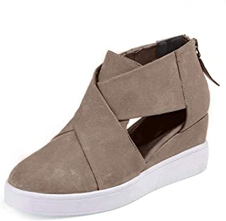 Xiakolaka Wedge Sneakers for Women Criss Cross Hidden Heel Wedge Shoes