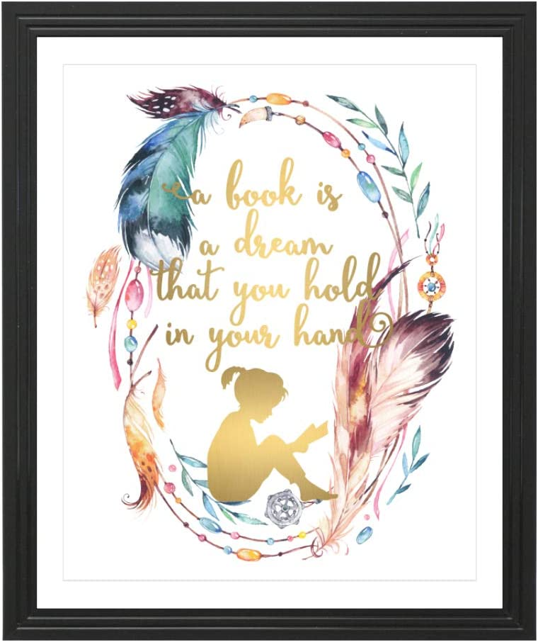 Eleville 8X10 A Book is a Dream That You Hold in Your Hand Real Gold Foil and Floral Watercolor Art Print (Unframed) Quote by Neil Gaiman Kids Wall Art Home Birthday WG107