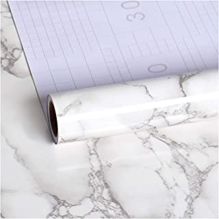 VEELIKE Marble Wallpaper Contact Paper Waterproof Removable Grey Self-Adhesive Film Shelf Paper Furniture Sticker Decorati...