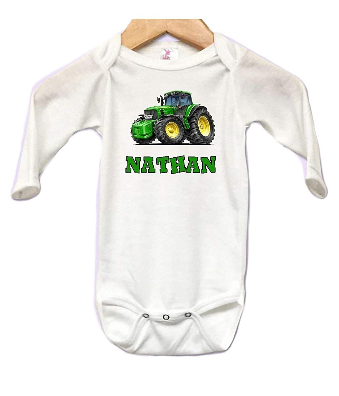 Baby Onesie Bodysuit Long Sleeve Cute Tractor Personalized Custom 0 to 3 mos or 3 to 6 months or 6 to 12 months for Boys