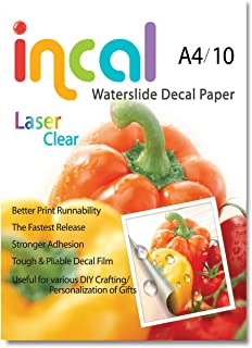 [Incal Paper] Waterslide Decal Paper LASER CLEAR A4 10sheets, DIY Photo Printing Craft, Stronger adhesion/fast releasing, Pliable Decal Film