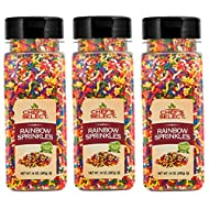 Chefs Select Rainbow Sprinkles Jimmies 14oz (Pack of 3 - Total of 2.6 lb )