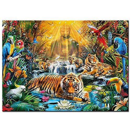 YISANWU Pintar por número Juegos Juegos DIY Pinceles Adultos niños Pinturas Decoraciones al óleo Animal,Buda Tigre Pico Largo,40x50cm Pared decoración Picture Pintar Kit