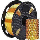 Amazon Brand - Eono Filamento per stampante 3D - Metallo lucido oro seta -1,75 mm - Bobina da 1 kg da 2,2 libbre,Ha un aspetto metallizzato