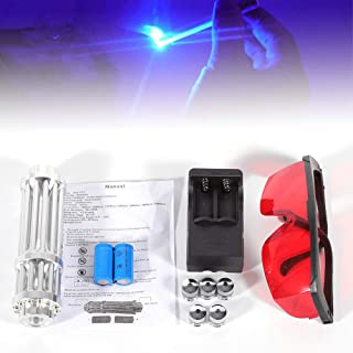 DY19BRIGHT Blue Laser Pointer Burning Light, 5W 450nm High Power Blue Laser Pointer Visible Beam Pen 5 Heads Case Battery Charger Goggles USA