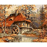 番号でペイントおとぎ話小さな町家の装飾油絵キャンバス家の装飾子供と大人のギフト40x50cm /フレームなし