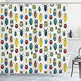 ABAKUHAUS Aquarell Duschvorhang, Bunte Insekten, mit 12 Ringe Set Wasserdicht Stielvoll Modern Farbfest & Schimmel Resistent, 175x180 cm, Mehrfarbig