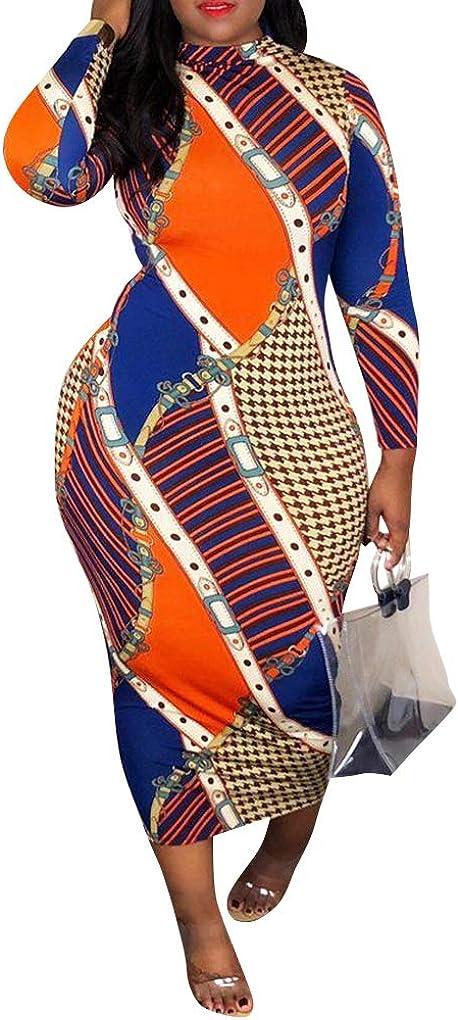 Ophestin Women Sexy shop Long Sleeve Year-end annual account B Stripe Turtleneck Floral Print