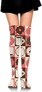 Café U0026 Dohnuts (melocotón), sobre la rodilla, calcetines, muslo, niña, medias altas, 65 cm / 25.6 in
