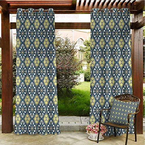 Antique Outdoor Privacy Curtain for Pergola Victorian Baroque Ornament Motifs Royal Tile Design Renaissance for Patio Light Block Heat Out Water Proof Drape 84x84 INCH,Dark Blue Pale Yellow Cream