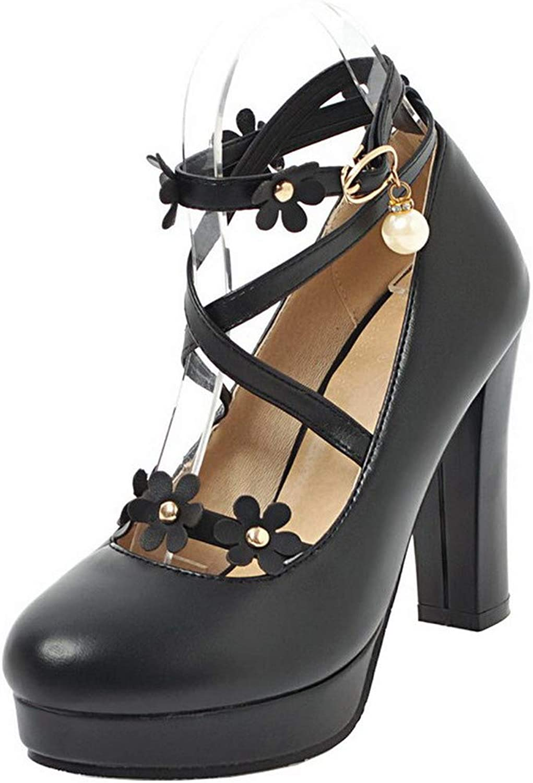 AllhqFashion Women's Buckle High-Heels PU Solid Pumps-shoes, FBUDD011912