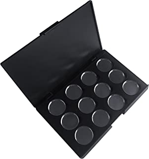 Allwon Empty Magnetic Eyeshadow Makeup Palette with 12Pcs 26mm Round Metal Pans