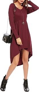Zeagoo Womens Hooded Dress Loose High Low Irregular Tunics Sweatshirts Hoodies Dress