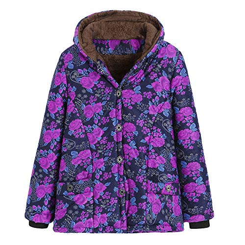 New RUIVE Women's Artificial Wool Coats Winter Warm Thicken Outwear Floral Print Hooded Pockets La...