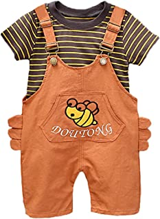 Summer Kids Outfit Kit Baby Girls Cartoon Jumpsuit Playsuit Children Short Sleeve Stripe Printing Tee Top