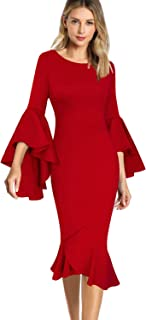 Womens Elegant Ruffle Bell Sleeve Business Cocktail Party Bodycon Pencil Dress