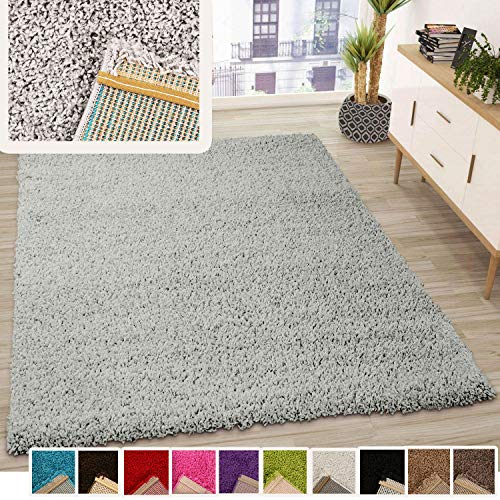VIMODA Prime Shaggy Teppich Grau Hochflor Langflor Teppiche Modern, Maße:80x150 cm
