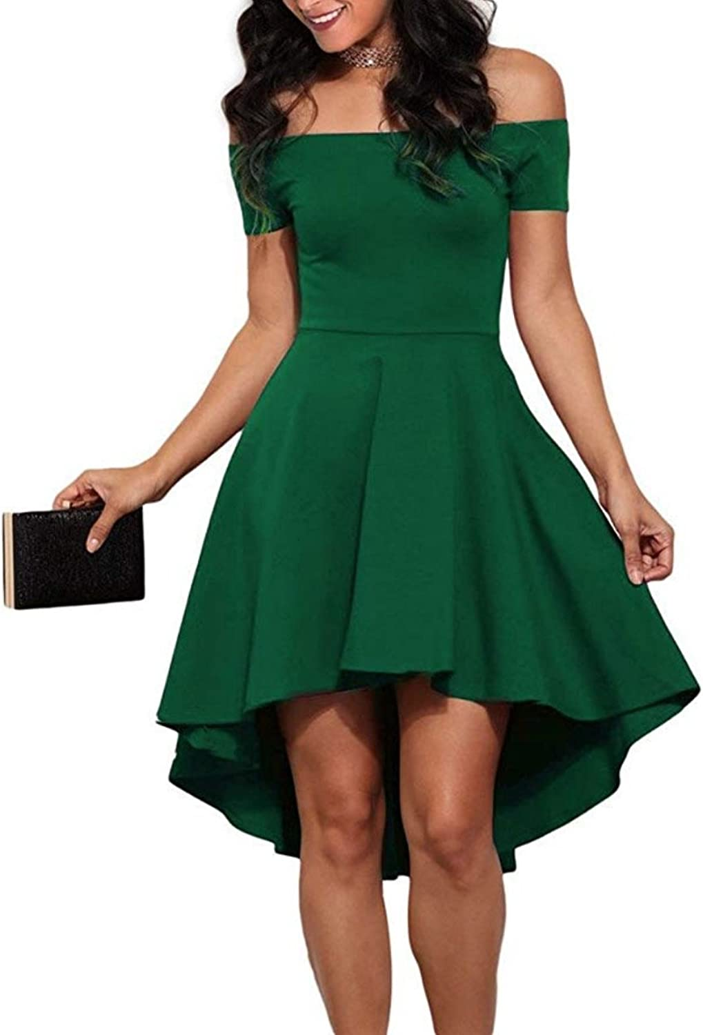 Milan Style Women's Casual Off Shoulder High Low Cocktail Party Dress Short Sleeves