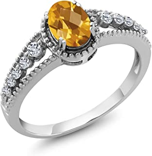 Yellow Citrine and White Topaz 925 Sterling Silver Gemstone Birthstone Women's Ring (0.91 Ct Oval Checkerboard Available 5,6,7,8,9)