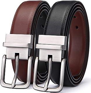 """KH Men's Belt, Bulliant Leather Reversible Belt 1.25"""" For Mens Dress Casual Golf Belt,One Reverse for 2 Colors"""