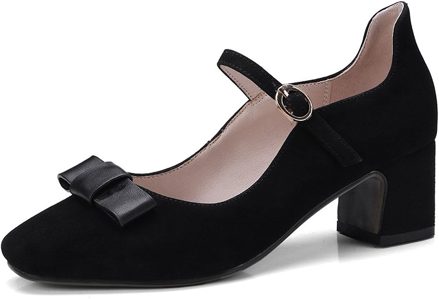 Nine Seven Suede Leather Women's Square Toe Block Heel Bowknot Mary Jane Handmade Pumps
