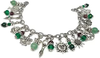 Litha Charm Bracelet with Stainless Steel Chain - Summer Solstice Jewelry with Gemstones - Wicca, Pagan Bracelet