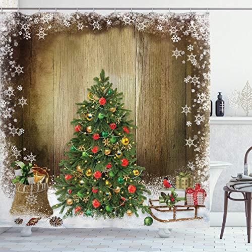 ABAKUHAUS Weihnachten Duschvorhang, Pine Tree Presents, Digital auf Stoff Bedruckt inkl.12 Haken Farbfest Wasser Bakterie Resistent, 175x200 cm, Mehrfarbig